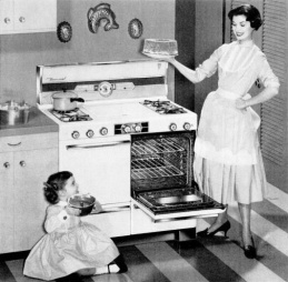 Universal Gas Range advertisement, making life easier in the 50's.