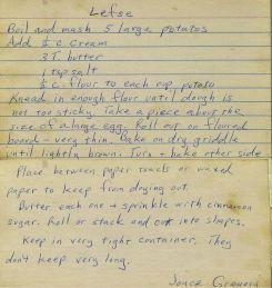 Lefse Recipe